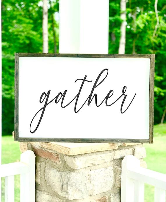 Gather | Large Framed Sign | Rustic Decor | Farmhouse Decor | Fall Signs | Fall Decor | Pumpkins | Thanksgiving