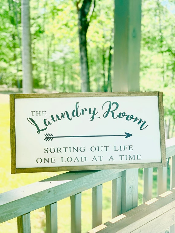 Laundry Room Sign | Sorting Life One Load At A Time | Wood Sign | Farmhouse Decor | Rustic Sign | Laundry Room Decor | Farmhouse Style
