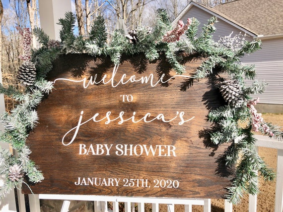 Custom Wooden Baby Shower Welcome Sign | Wedding Shower | Hand Painted Sign | Personalized Sign | Wedding Decor | Bridal Shower Decor |