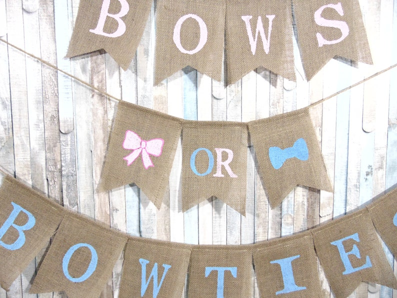 Bows or Bowties Gender Reveal Banner He or She Banner Gender Reveal Ideas Reveal Party Pink or Blue Boy or Girl Gender Decor