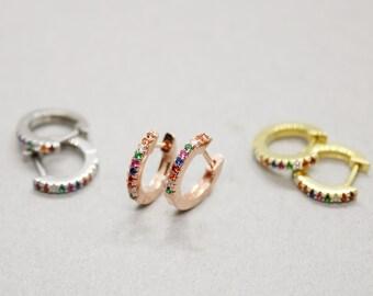 de0fdc6ad1 Rainbow hoop earring | Etsy