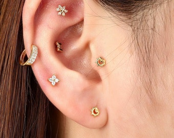 Silver Sun Tragus Earring Jewelry,sun stud earrings,sunflower Helix Cartilage jewelry