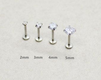 2a5542889 18g Clear Crystal Internally Threaded Labret Earring, tragus studs, helix  piercing, cartilage earring, 2mm cz labret stud, cz Body Jewellery