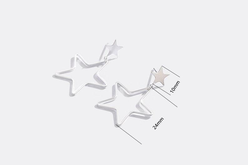 minimalist earrings gift for her celestial drop earrings dainty and delicate double stars dangle earrings twinkle star ear threader