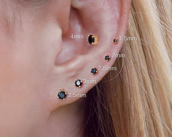 round black cz stud earring, prong set, sterling silver, 1.5mm, 2mm, 2.5mm, 3mm, 3.5mm, 4mm gem stone earring studs, cartilage, tiny, small