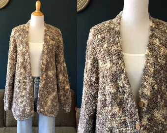 1980s hand knit chunky nubby boucle wool cardigan sweater made in Italy  slouchy oversize 80s vintage earth tone wood buttons 13b060428