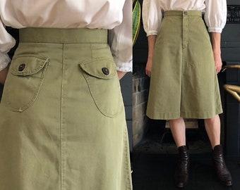 e9e547bd80 1960s 1970s vintage high waist a-line skirt lift the dot fastener 60s 70s  military uniform khaki olive army green cotton twill XS 23 24 W