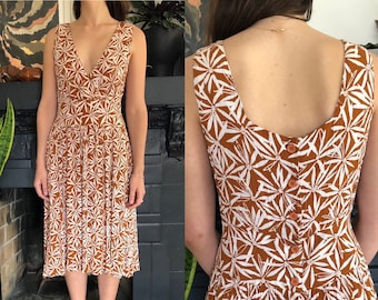 375a4c884a3af 1980s vintage abstract floral crinkle rayon gauze midi dress Ann Tjian for  Kenar 2 80s sun dress ochre brown   white