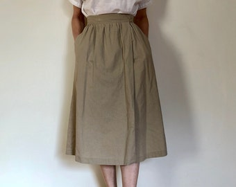 1970s vintage Judy's khaki linen cotton wrap midi skirt