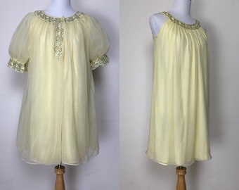 1960s lemon yellow chiffon peignoir set puff sleeve robe babydoll gown  negligee 60s vintage lingerie double layer nightgown nightie 149841725