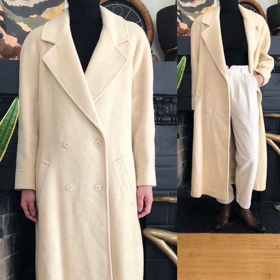 1980s vintage ivory wool oversized coat 80s 90s To