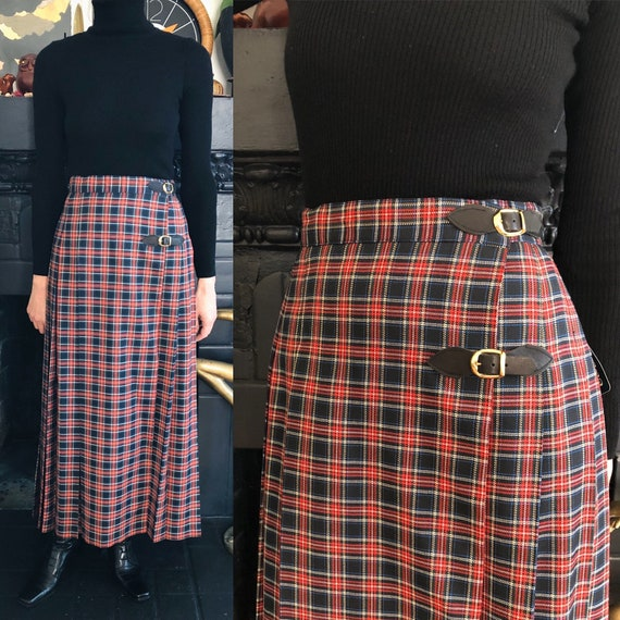 1980s vintage plaid long kilt 80s 90s tartan pleat