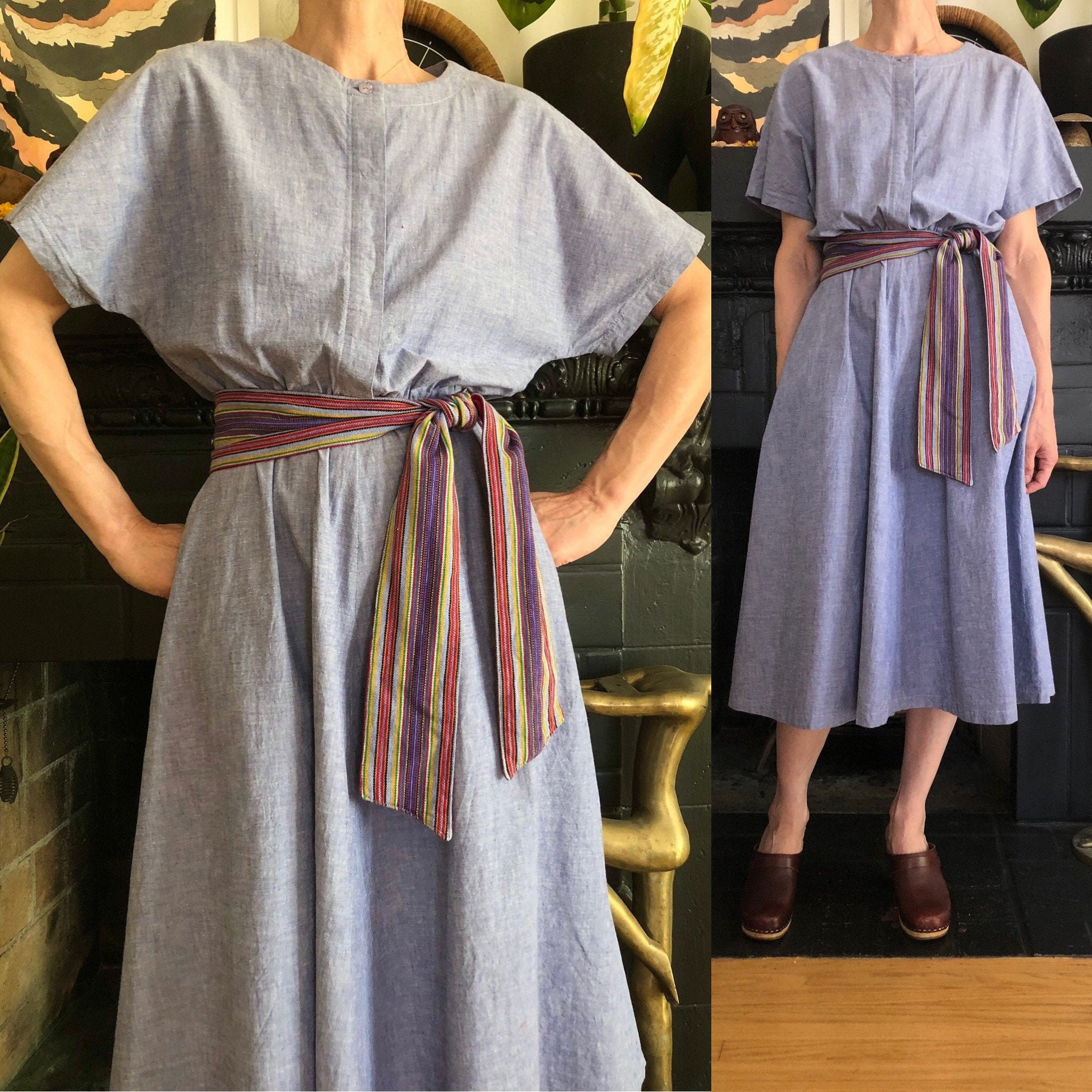 80s Dresses | Casual to Party Dresses 1980S Vintage Chambray Blouson Midi Dress 80S 90S Minimalist Horchow Light Blue Cotton Sundress Woven Sash Belt M $0.00 AT vintagedancer.com