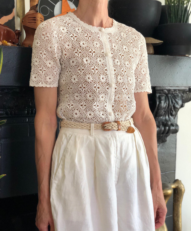 80s Sweatshirts, Sweaters, Vests | Women 1980S Vintage White Crochet Lace Cardigan 70S 80S Short Sleeve Cotton Floral Knit Xs $44.00 AT vintagedancer.com