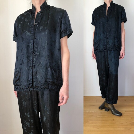 1980s vintage Chinese pajama set 70s 80s black sil