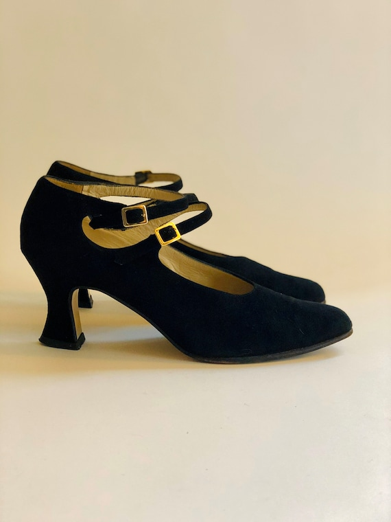 1980s Vintage Charles Jourdan Black Suede Mary Janes 80s 90s Leather Pumps Double Ankle Strap Low Heels 7.5 by Etsy