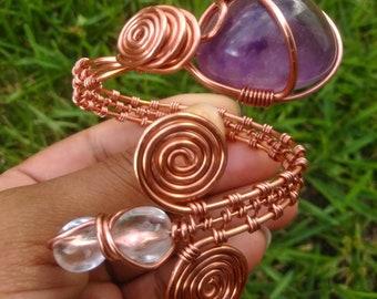 Amethyst Copper Bracelet Cuff