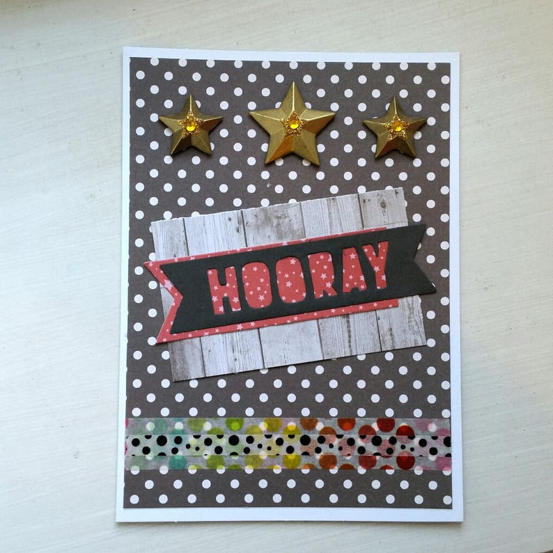 hooray gold star greeting card