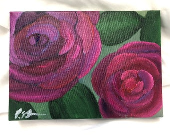 Acrylic Floral 5x7 No  1 | Original floral artwork | Original acrylic painting of flowers | Valentine's Day Florals | Becca Davis Designs