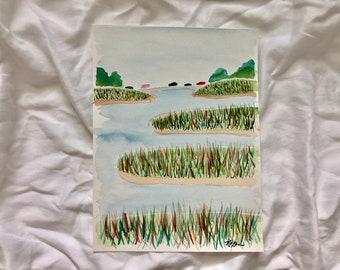 Cars Over the Marsh: Original 9x12in watercolor painting. Original fine art painting.