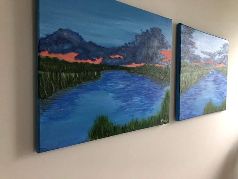 5x7in Coastal Art Print Fine Art Print of Sunset on the Marsh off of Fort McAllister No  2