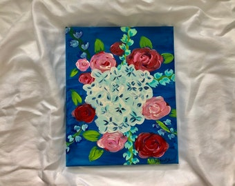 January Florals No. 1: Original 8x11in acrylic fine art painting. Fine art floral painting. One of set of two.