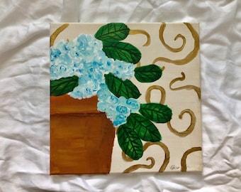 Gold and Blue Hydrangeas No. 2: Original 12x12 acrylic painting | floral painting | original art | hydrangea painting | acrylic on canvas