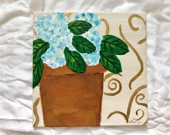 Gold and Blue Hydrangeas No. 1: Original 12x12 acrylic painting | floral painting | original art | hydrangea painting | acrylic on canvas