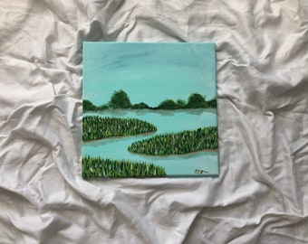 Savannah Marsh Seascape No. 2 | original painting | ocean home decor | original acrylic painting | ocean art | seascape wall art | 12x12in