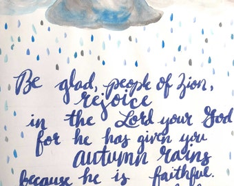 Joel 2-23: Instant Download of original watercolor and lettering Bible verse