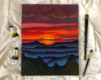 Mountain Sunset | original acrylic painting | original artwork | sunset over the mountains | mountain art | mountain home decor | 16x20in