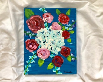 January Florals No. 2: Original 8x11in acrylic fine art painting. Fine art floral painting. One of set of two.