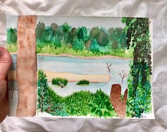 Marsh View from the Pool: Original 7x10in watercolor painting. Original painting of marsh a marsh in Savannah, Georgia. Savannah painting.