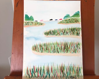 Cars Over the Marsh: Instant Download of original watercolor painting. Original fine art painting.