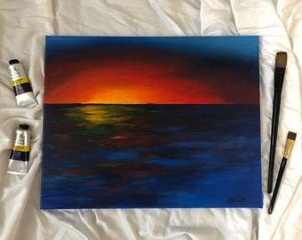 Ocean Sunset 1 | original acrylic painting | original artwork | sunset over the ocean | seascape art | ocean home decor | 16x20in