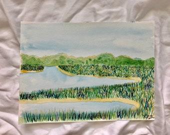 Colorful Marsh: Original 9x12in watercolor painting | Original fine art painting | original painting of marsh in Savannah Georgia| seascape