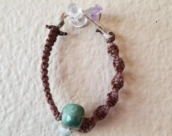 Ocean jasper and hemp handwoven  bracelet