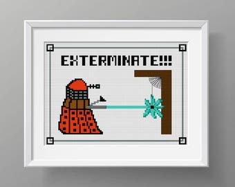 "Dr. Who Cross Stitch Pattern ""Exterminate!!!"" / Whovian / pdf / Dr Who"