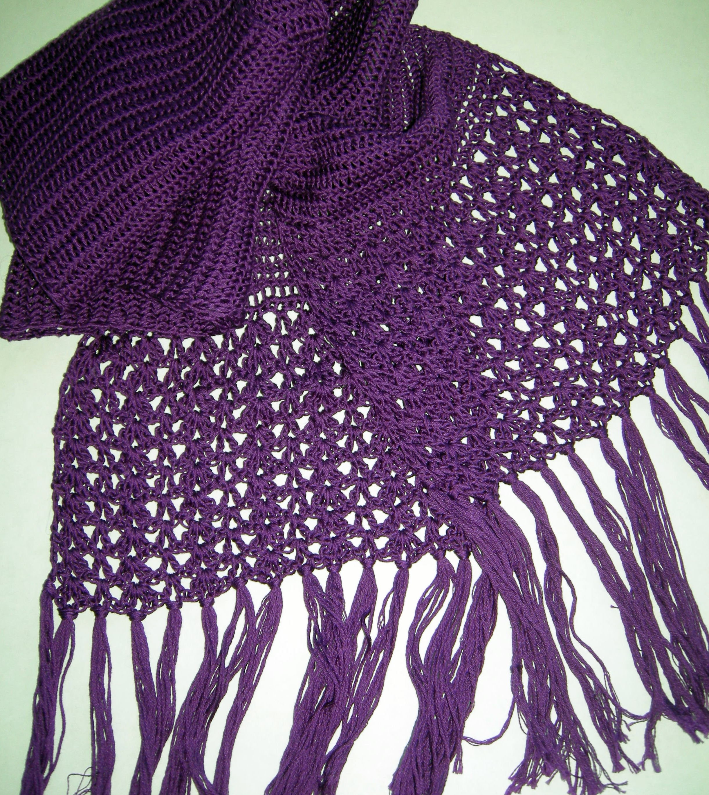 Hand Crochet Scarf 100 Cotton From France Etsy