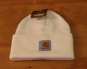 Winter White Beanie/scullcap/hat womens carhart cap, can be customized with name and initials.