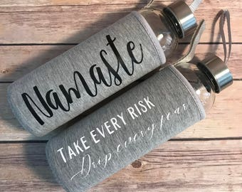 Personalized Water Bottle  Glass Water Bottle  Bridal Party Water Bottle  Monogrammed Water Bottle  Bridesmaid Gift  Bridal Party Gift