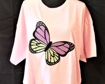 Butterfly Pink Tee Shirt 2XL
