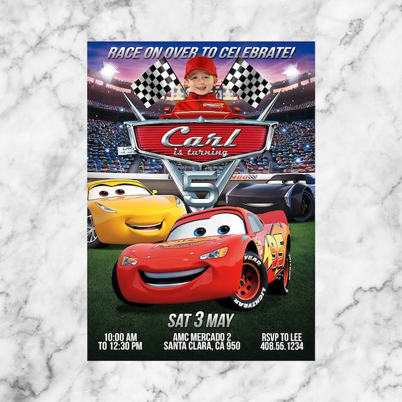 Disney Cars 3 Birthday Invitation Party Invite Printable Lightning McQueen
