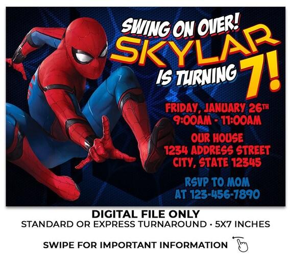 Spider Man Birthday Invitation Invite Printable Party Homecoming Spiderman Theme