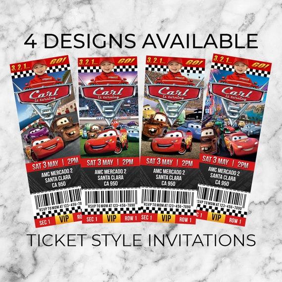 Disney Cars Ticket Invitation Disney Cars Birthday Invitation Cars