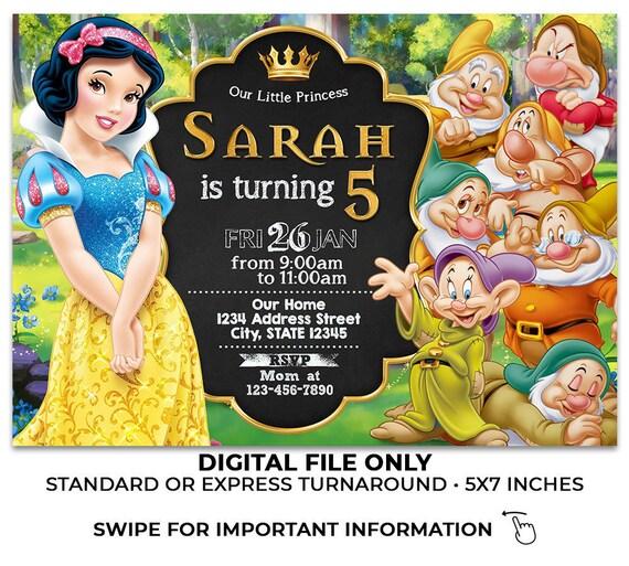 Snow White And The Seven Dwarfs Invitation Snow White