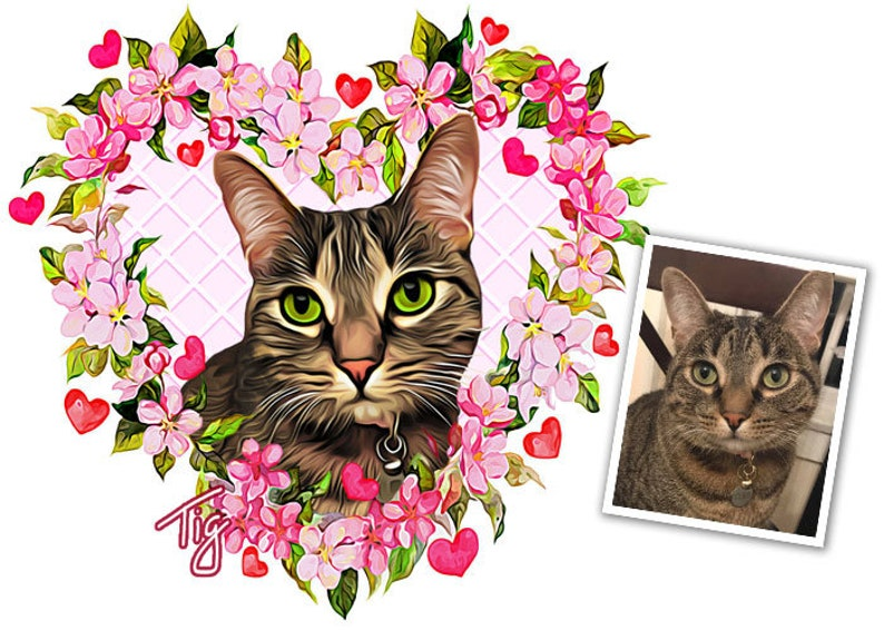 Flower Heart Custom Pet Portrait