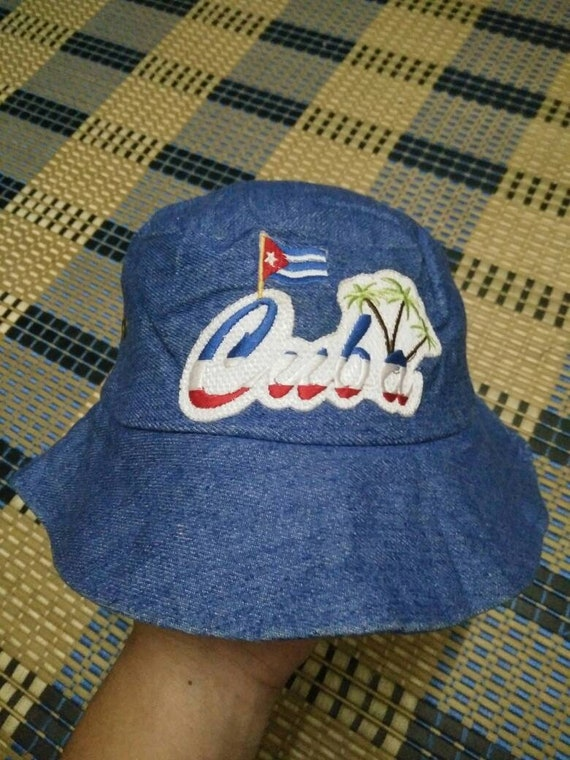 Vintage Denim Bucket Hat Embroidered logo Made In