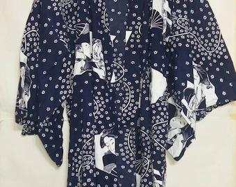 Japanese Kimono cotton giesha motif..LARGE size