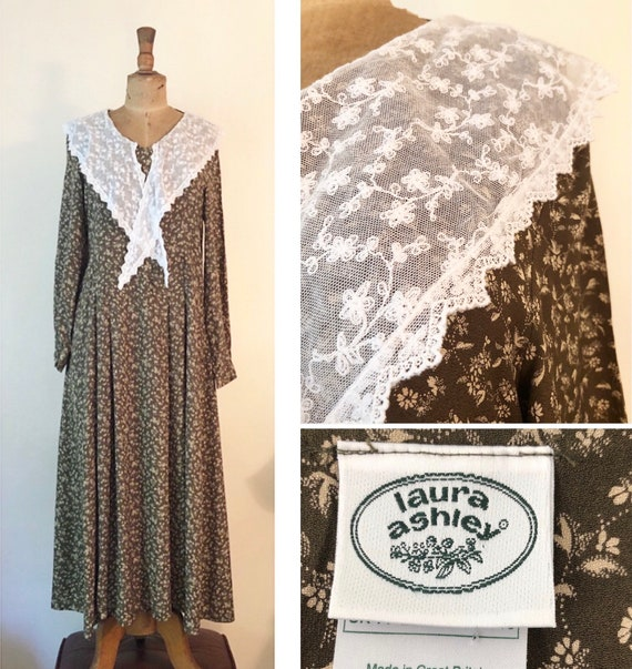 1980s Vintage Laura Ashley with lace shawl collar